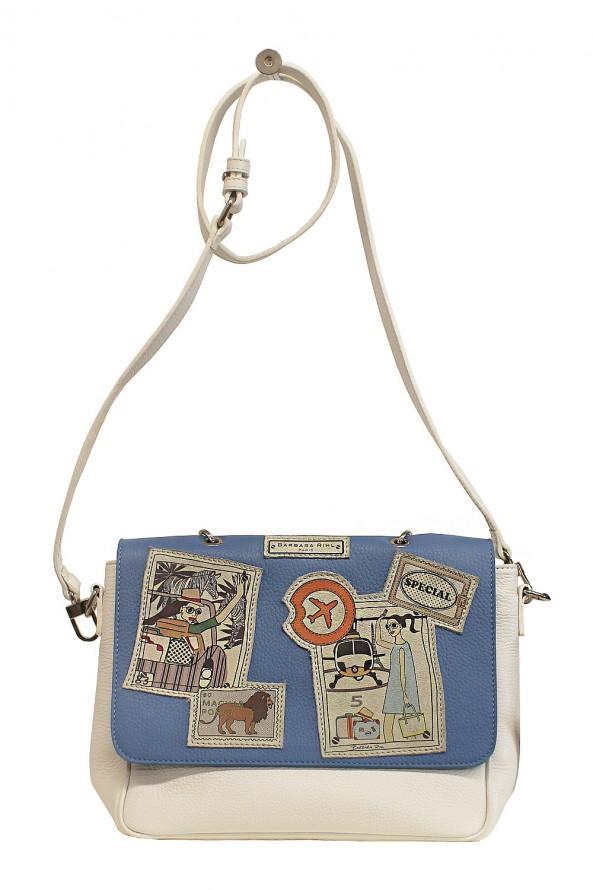 Petit sac femme à bandoulière en cuir Barbara Rhil, modèle Alex in Nassau, blanc et bleu