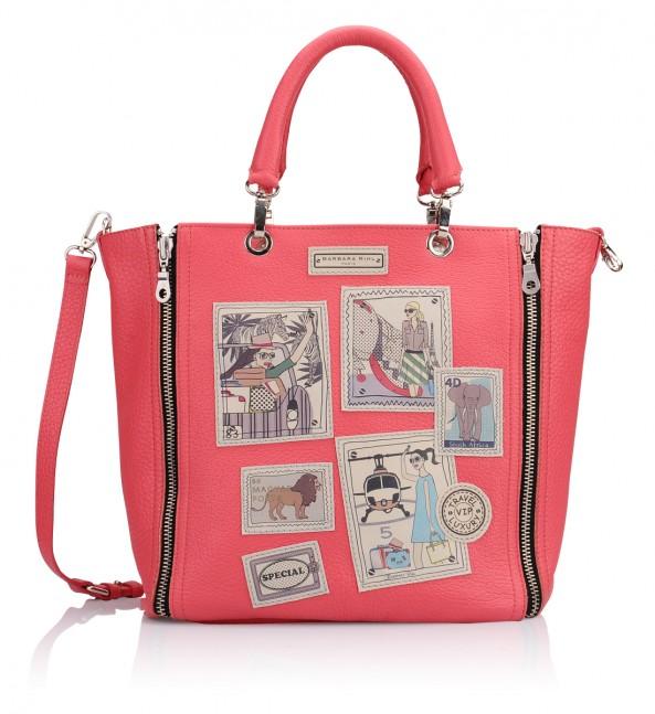 Vente sac femme Barbara Rhil rose corail avec motif timbres esprit voyage rétro