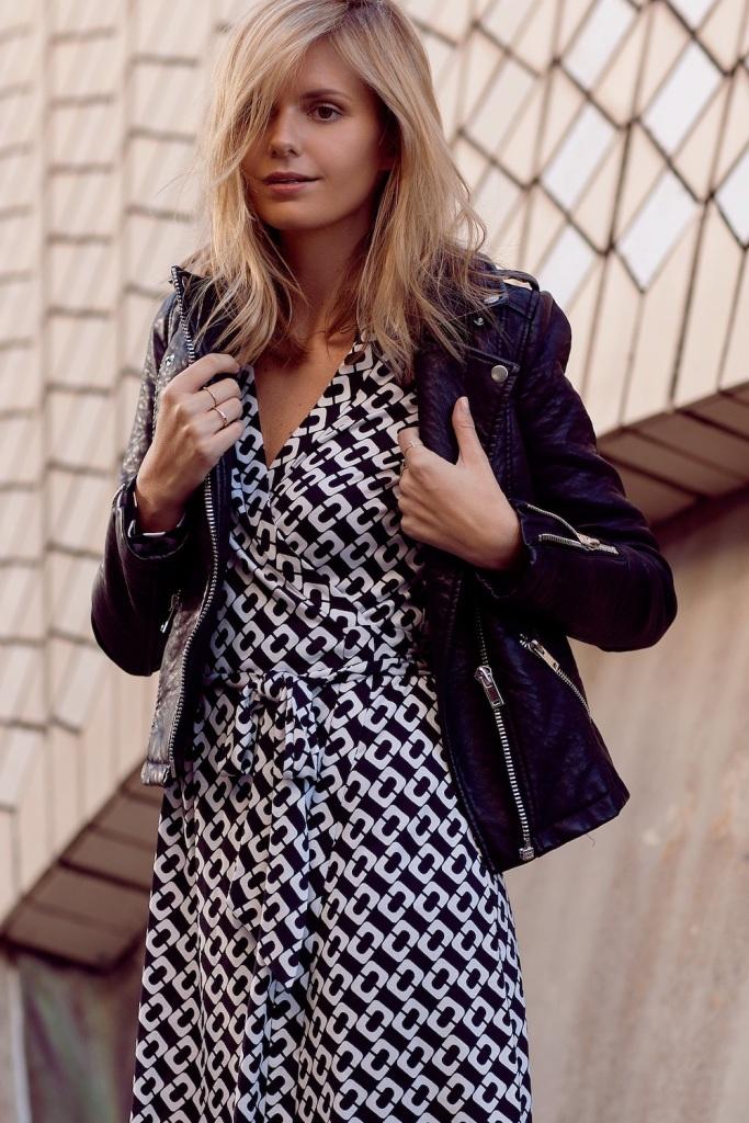 Look robe et perfoecto cuir noir pour Tuula
