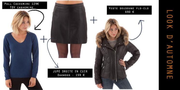Total look doudoune courte, jupe en cuir et pull cashemire
