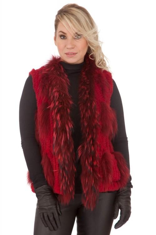 Gilet en fourrure lapin renard femme rouge Oakwood dolly
