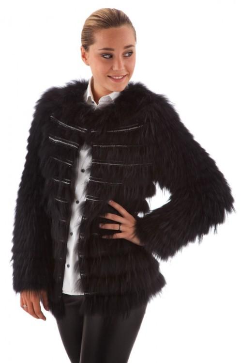 Veste en fourrure marmotte tendance noire femme oakwood