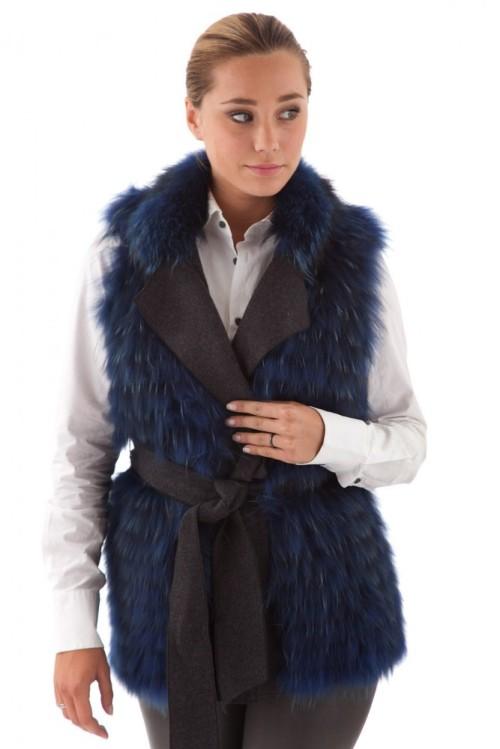 Veste sans manche fourrure marmotte bleu selection Cesare Nori-femme-tsarina