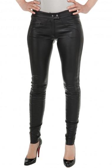 Pantalon en cuir stretch noir femme Ventcouvert