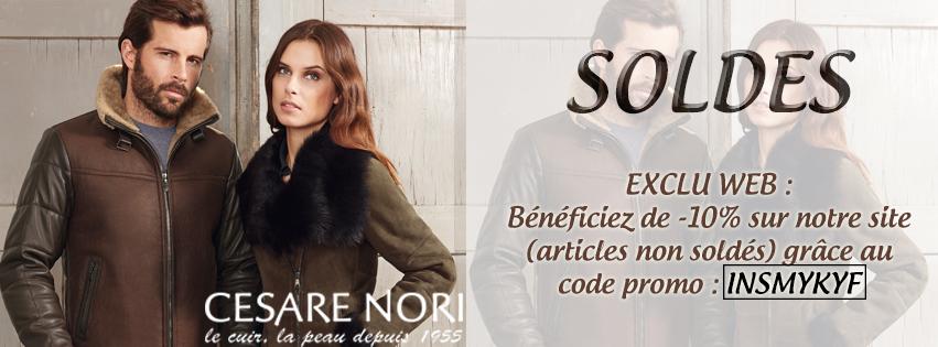 Soldes hiver 2015, Cesare Nori, vente de vêtements en cuir, fourrure, chaussures cuir, accessoires cuir... Code promotion
