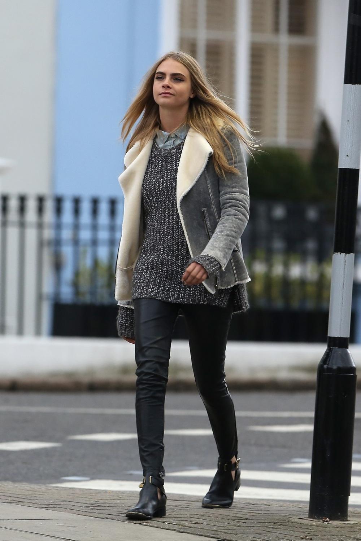 cuir, peau lainée, legging