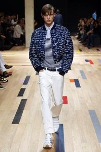 « Cropped bomber » en toile de laine bleu marine à imprimé all-over « generation / civilisation » Dior Homme
