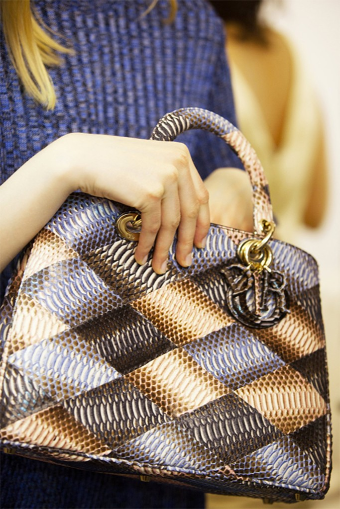 Défilé Croisière Dior 2016 sac patchwork bleu et marron