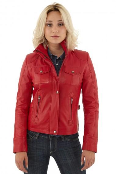 Blouson motard cuir rouge femme