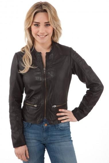 Blouson motard femme en cuir noir