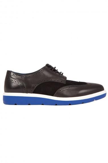 Chaussure noire homme semelle épaisse bleue et blanche United Nude Flex Wingtip