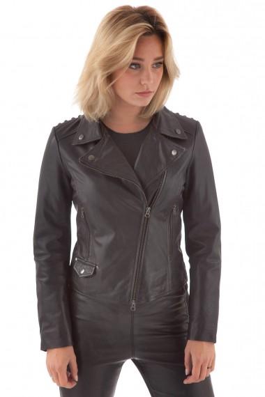 Blouson perfecto en cuir noir femme Minoronzoni en solde
