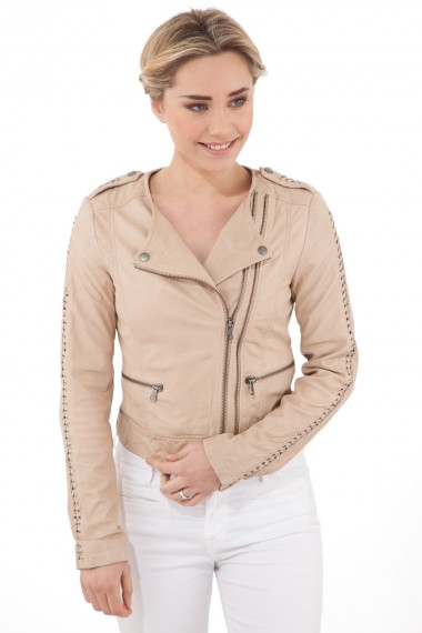 Blouson perfecto femme en cuir beige Rich and Royal en solde