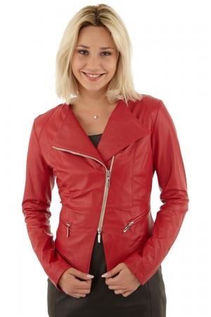 Blouson perfecto femme rouge FloClo en solde