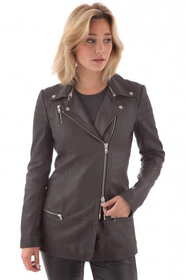 Veste 3-4 style perfecto en cuir noire femme Muubaa en solde