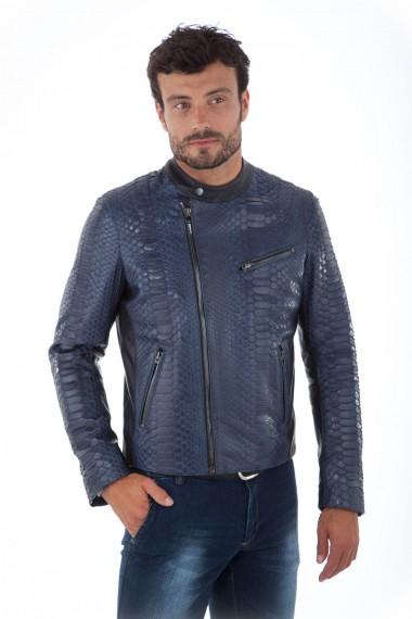 Blouson biker homme en cuir de python bleu