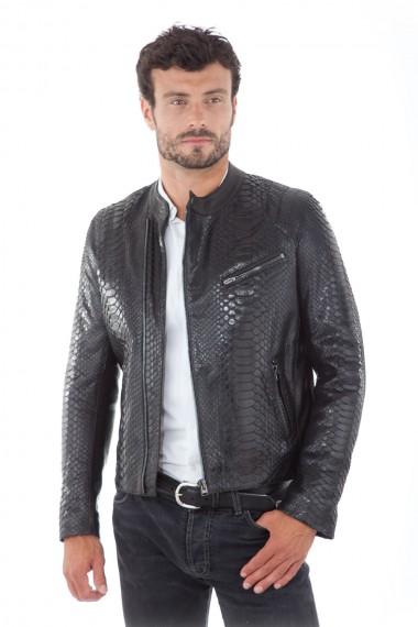 Blouson biker homme en cuir de python noir