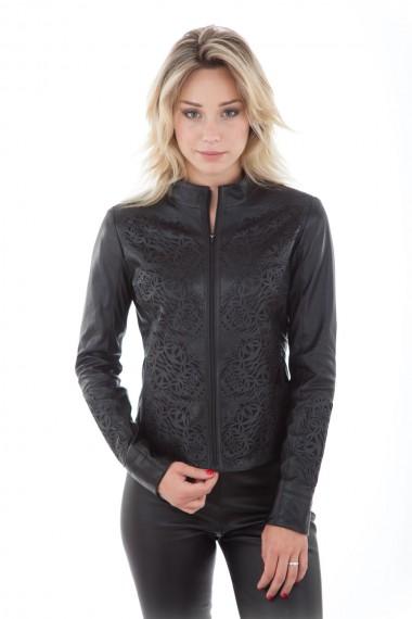 Blouson femme en cuir d'agneau noir microperforé motif broderie, modèle Erine de la marque Akhesa