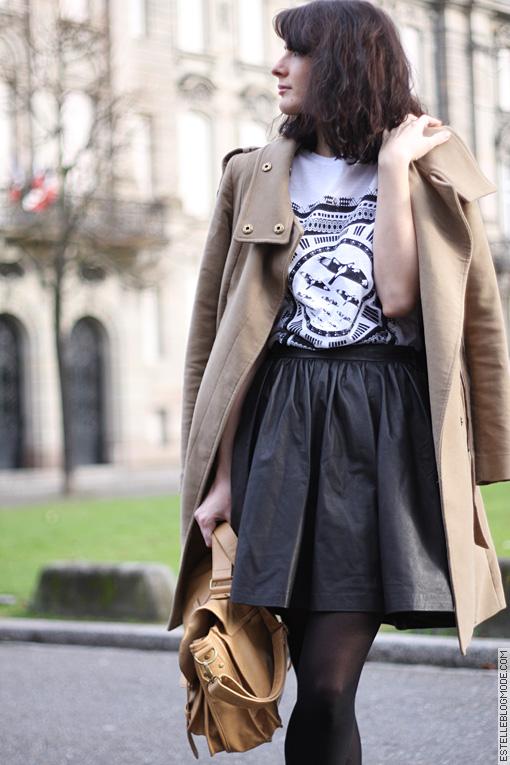 Jupe en cuir noir coupe patineuse blog Estelle Blog Mode