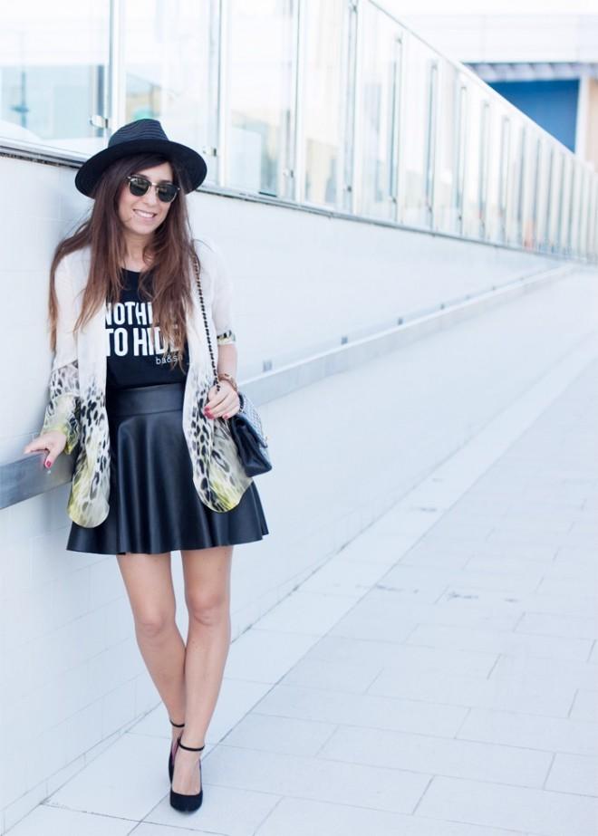 Jupe patineuse noire en cuir blog Marie Luv Pink