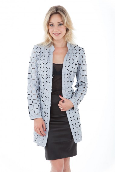 Manteau femme en cuir d'agneau gris perle Akhesa modèle Shadow