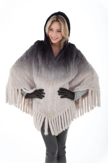 Poncho femme dégradé blanc et noir en vison tricoté Volkova