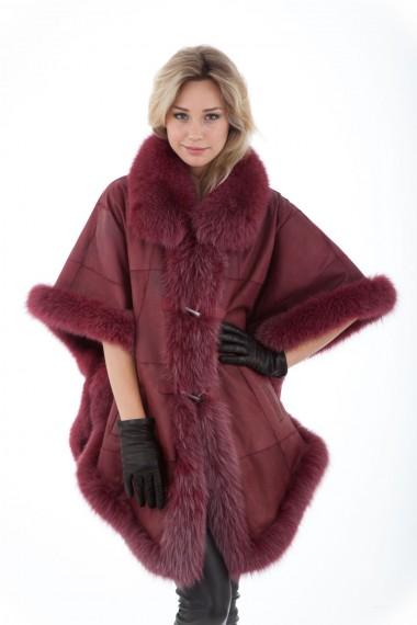 Poncho femme rouge marsala en renard