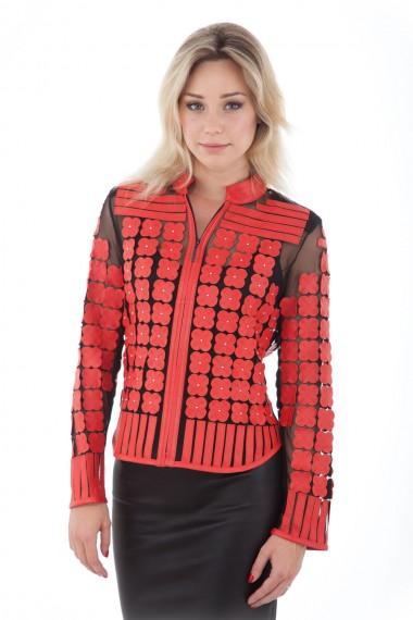 Veste femme en cuir rouge et tulle noir, modèle Daisy chez Akhesa