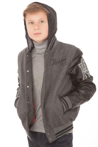 Blouson à capuche enfant RedSkins, modèle Teddy gris