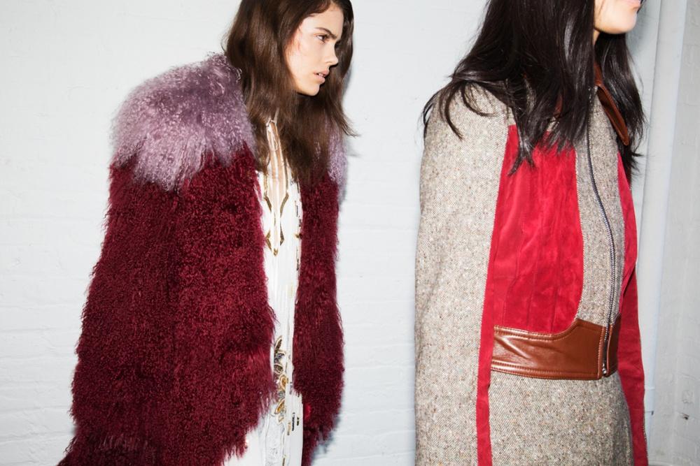 Manteau fourrure rouge et mauve Rodarte SS 16