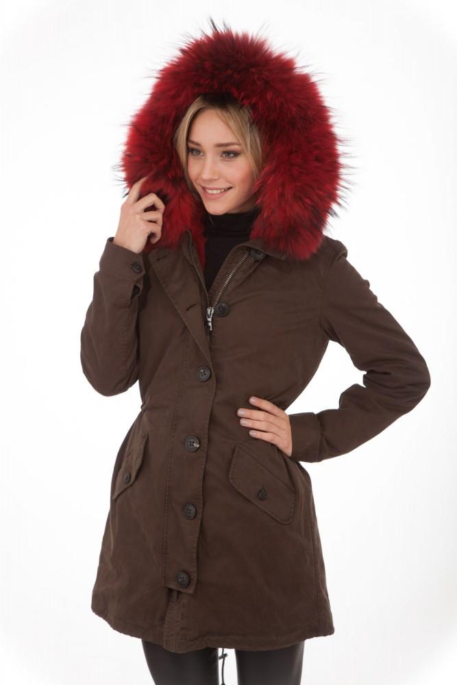 Parka 2 en 1 Blonde N°8 marron et doublure rouge