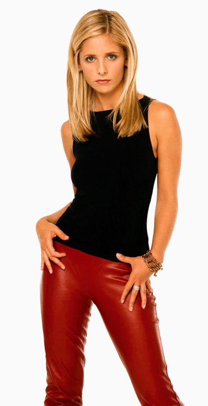 buffy en slim cuir rouge