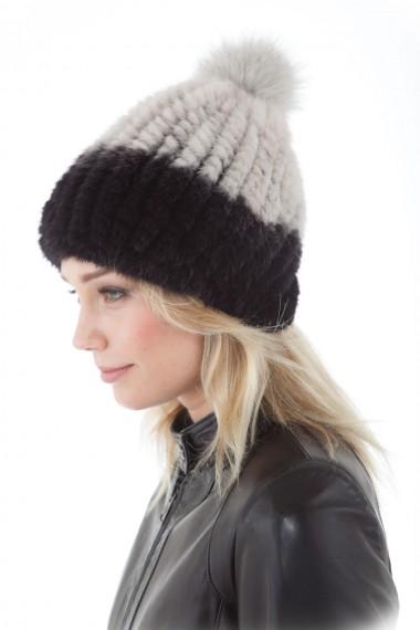 Bonnet vison tricoté