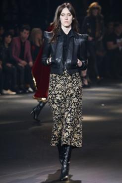 Blouson en cuir noir femme, manche gigot, YSL collection Automne-Hiver 2017