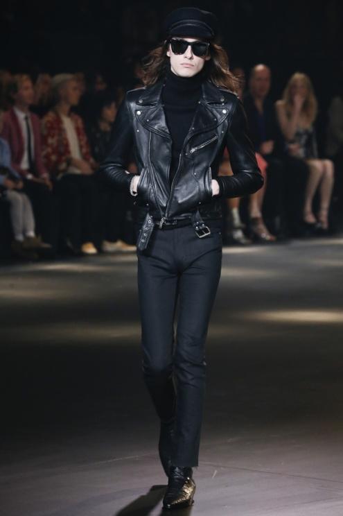 Blouson perfecto en cuir noir pour homme YSL collection Automne-Hiver 2017