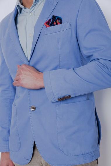 Veste homme ATPCO en coton bleu ciel avec poignets mini-boutonnières avec bouton camel